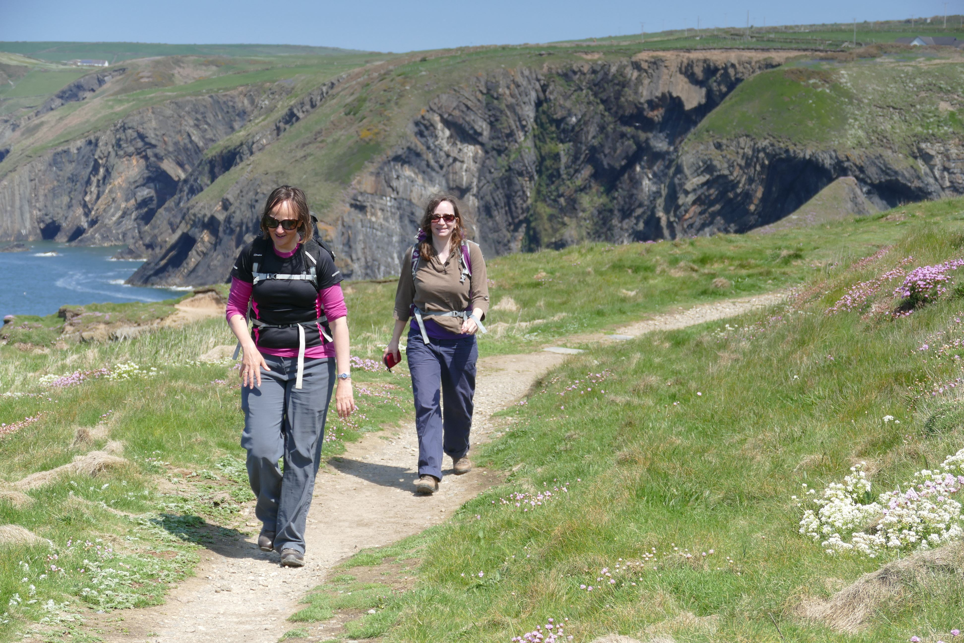 Two women walking along a national trail